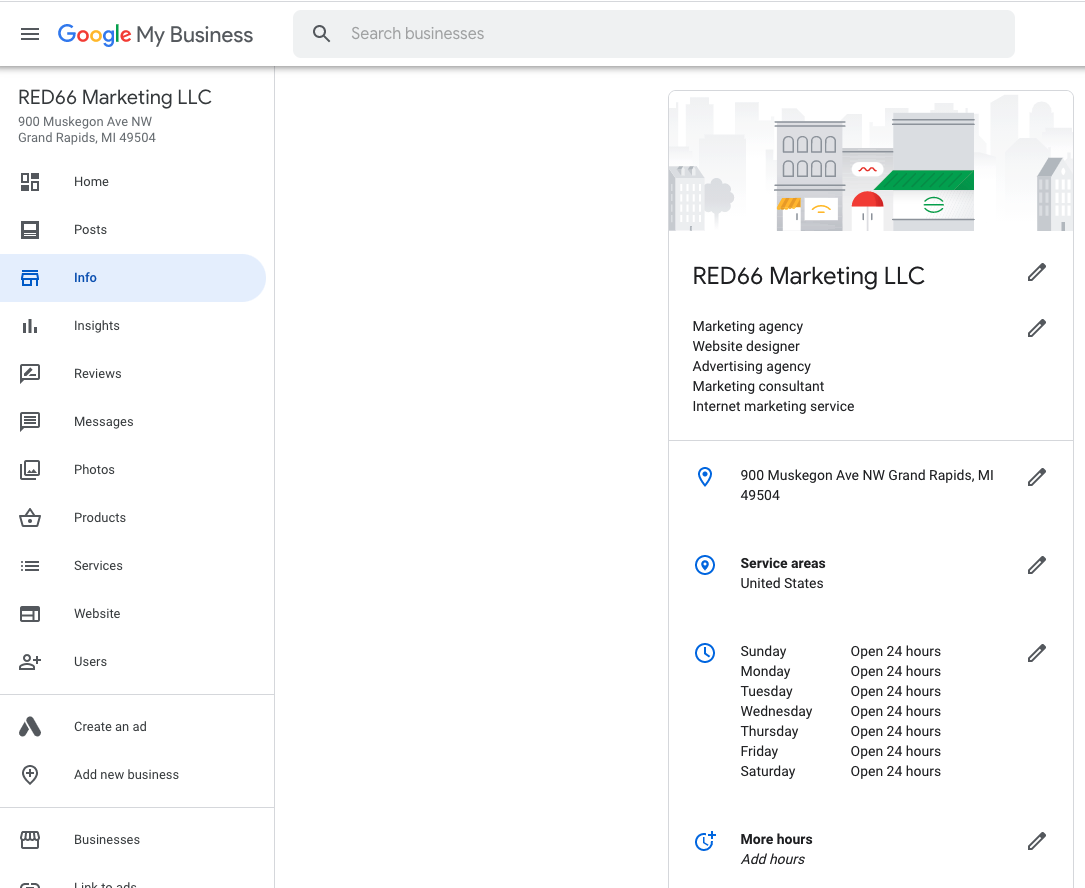 Screen shot of Google My Business Profile Page
